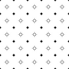 Repeating abstract monochrome curved star pattern - vector background design from octagrams