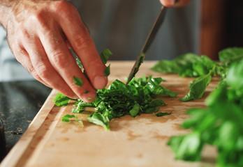 chopping basil