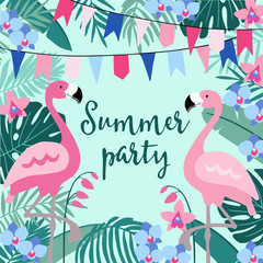 Summer birthday party greeting card, invitation with hand drawn palm leaves, orchid flowers, flamingo birds and party flags. Tropical jungle design. Vector illustration background.