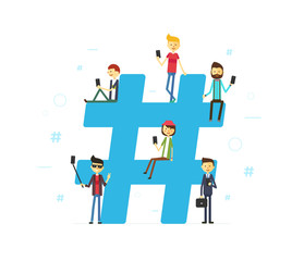 Hashtag concept illustration of young people using mobile tablet and smartphone