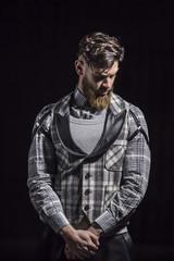 fashionable hipster man,beard, shirt, vest,hair
