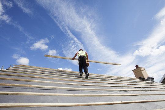 Roofer with tile battens.