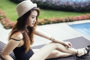 Portrait of a Beautiful Young Woman in Swimsuit