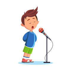 Boy singing a song isolated on white background. Singer with microphone. Child musical performance. Vector cartoon illustration