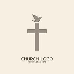 Church logo. Christian symbols. The cross of Jesus and the dove