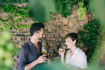 Smiling couple drinking wine together outdoors