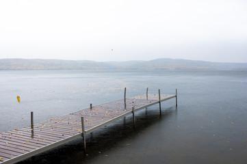 Boat dock in the rain