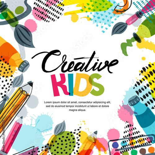 Kids Art Education Creativity Class Concept Vector Banner Poster Or Frame Background