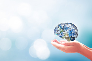 World mental health day concept. Human hands holding brain of earth over blurred blue nature background. Elements of this image furnished by NASA.