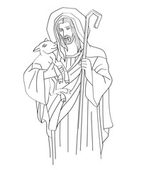 Jesus Christ is the good shepherd, art sketch or drawing, line art vector design