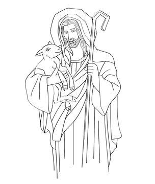 Jesus Christ is the good shepherd, art sketch or drawing, line art vector design