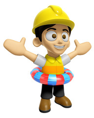 3D Construction Worker Man Mascot is played in the pool on a tube. Work and Job Character Design Series 2.