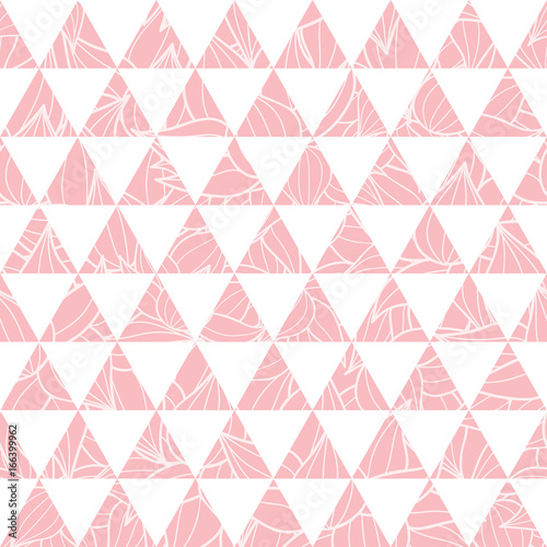 vector salmon pink triangles and leaves texture seamless repeat