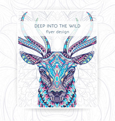 Flyer template with patterned head of the deer