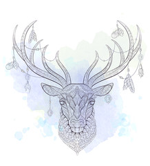 Patterned head of deer