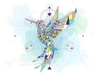 Patterned hummingbird with geometry