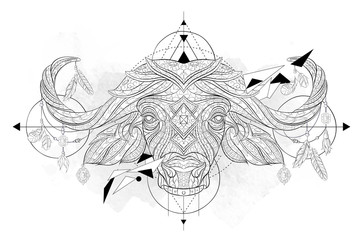 Patterned head of the buffalo with geometry