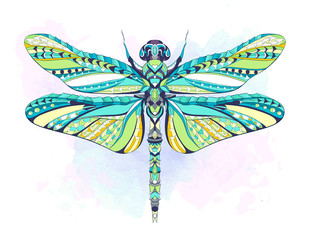 Patterned dragonfly on the grunge background