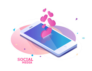 Isometric concept with mobile phone and falling hearts and likes.