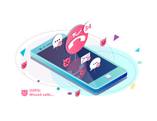 Isometric concept with mobile phone, missed calls, icons of messages. sms and mails notification.