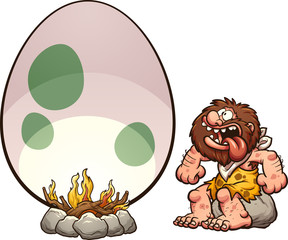 Hungry cartoon caveman cooking a giant egg. Vector clip art illustration with simple gradients. Some elements on separate layers.