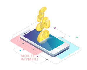 Isometric concept of mobile payment.