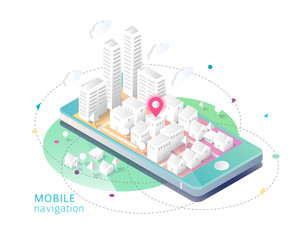 Isometric concept of mobile navigation.