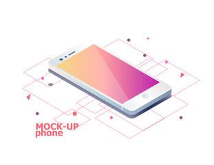 Mock up mobile phone. Isometric vector illustration.
