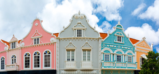 Oranjestad downtown panorama with typical Dutch colonial architecture. Oranjestad is the capital and largest city of Aruba