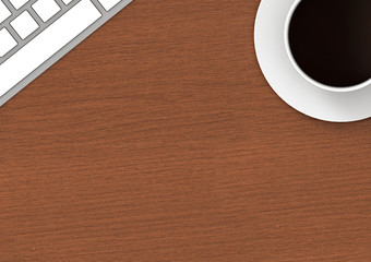 3d rendering. coffee cup and keyboard on the wood table