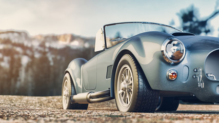 Classic car parked in the mountains in the morning. 3d render and illustration.