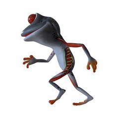 3d illustration of a running gray cartoon frog.