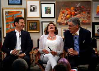 "Cast members Feuerstein, Lavin and Gould attend a panel for the television series ""9JKL"" on set during the TCA CBS Summer Press Tour in Studio City"