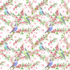 retro flower seamless texture with beautiful birds. watercolor painting