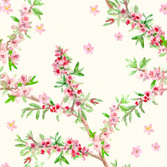 Flower seamless texture. watercolor painting