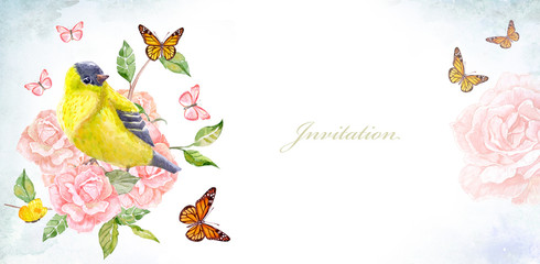 invitation banner with cute yellow bird on flowering roses. watercolor painting