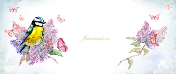 invitation banner with cute bird on flowering branch lilac. watercolor painting