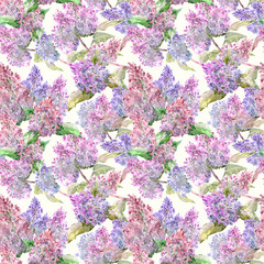 abstract seamless texture with flowering lilac. watercolor painting