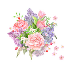 bouquet of lovely flowers for your design. watercolor painting