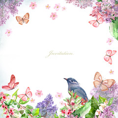 spring blossom and bird for your design. watercolor painting