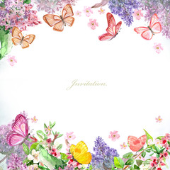 greeting card with blossom spring and butterflies for your design. watercolor painting