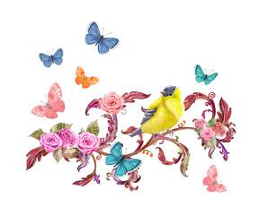 lovely floral arrangement and butterflies, bird. watercolor painting.