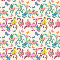 vintage seamless texture with fancy floral and birds. watercolor painting.