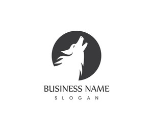 Black Silhouette Wolf Head Logo Design