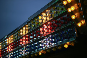 Lights on a ride on a carnival ride during the county fair