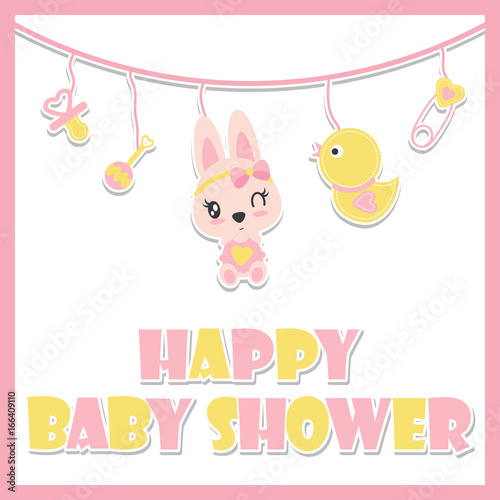 Cute Baby Bunny And Baby Toys Is Hanging Vector Cartoon Illustration For Baby  Shower Card Design