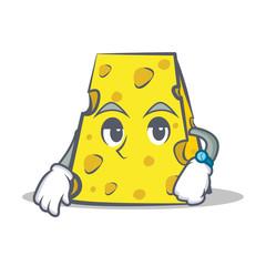 Waiting cheese character cartoon style