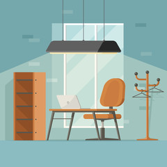 Creative workplace in 3d flat style. Modern interior with table computer lamp armchair hanger brick wall. Vector illustration