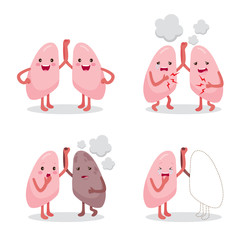 Lungs Healthy And Sickness Set, Cartoon Character, Human Internal Organ, Physiology, Sickness, Medical Profession, Morphology, Body, Organs, Health
