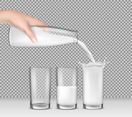Vector realistic illustration, hand holding a glass bottle of milk, milk, dairy product, yogurt, kefir, protein cocktail pouring into drinking glasses. Print, template, design element